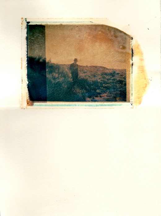 Bryan McGovern Wilson, The Trinity Pilgrimage (Emergence), Polaroid transfer on watercolor, Trinitite, 9 in x 7in, 2011
